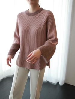 오티비 배색 knit(4col)(앙고라)